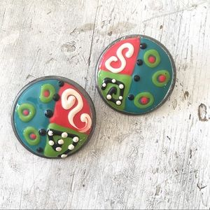 80s Avant Garde Abstract Round Earring Statement